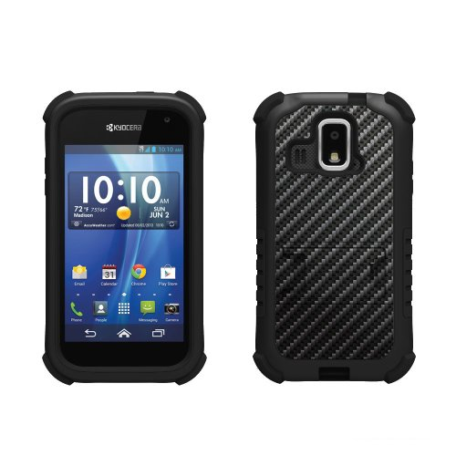 Beyond Cell Tri-Shield Durable Hybrid Hard Shell and Silicone Case for Kyocera Hydro XTRM C6721 – Carbon Fiber Black, Best Gadgets