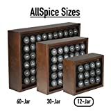 AllSpice Wooden Spice Rack, Includes 12 4oz Jars (Walnut)