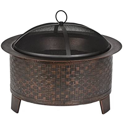 CobraCo Woven Base Cast Iron Fire Pit FBCIWOVEN-BZ - Basket-weaved steel base with a bronze finish High quality heavy-duty cast iron bowl Heavy duty spark guard cover included to prevent sparks from flying - patio, outdoor-decor, fire-pits-outdoor-fireplaces - 515V4R4mXCL. SS400  -