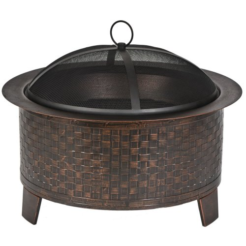 CobraCo Woven Base Cast Iron Fire Pit - Cast Iron Brick Finish