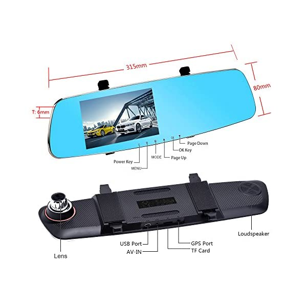 MERRiLL Dash Cam Dual Cameras 1080P 5 IPS 170 Wide Angle Night Vision 15 Megapixel And 32GB Card