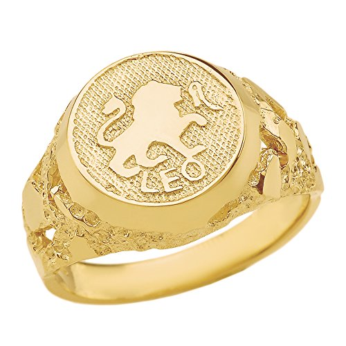 Solid 14k Yellow Gold Leo Zodiac Sign Band Nugget Men's Ring (Size 14.25) ()