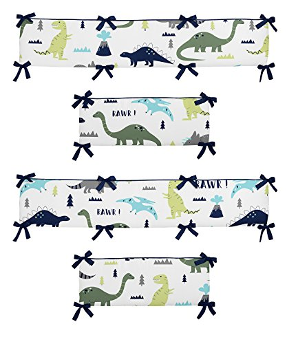 Sweet Jojo Designs Crib Bumper Pad for Blue and Green Modern Dinosaur Collection Baby Boy or Girl Bedding