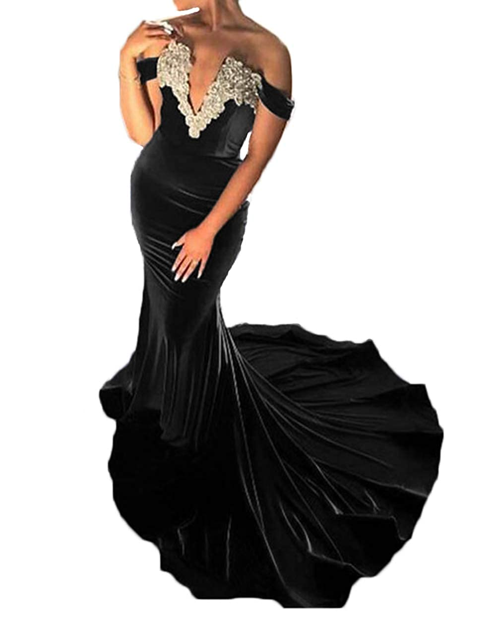1fd627bd0e77 Black alilith.Z Sexy Plunging Sweetheart Velvet Prom Dresses Mermaid  Appliques Long Formal Evening Dresses