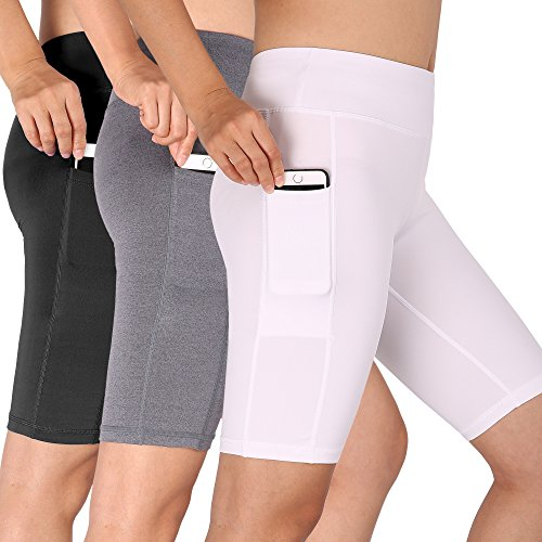 - Cadmus Women's High Waist Running Workout Shorts with Pocket,3 Pack,06,Black,Grey,White,Large