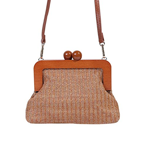 Women's Purse Woven Straw Shoulder Amuele BA623 Retro Straw Weave Brown Messenger Clutch Bag Crossbody H4Ywq