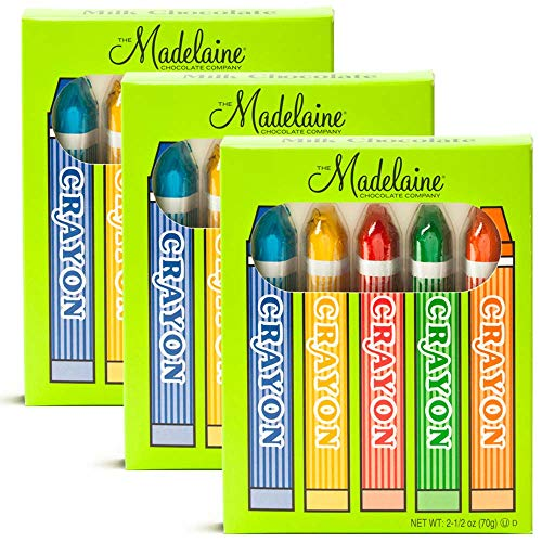 Madelaine Solid Premium Milk Chocolate Crayons Wrapped In Red, Green, Yellow, Blue, Orange Italian Foils - 3 Pack