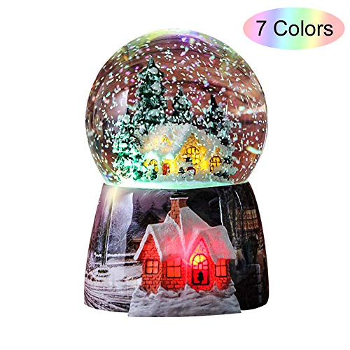 (Snow Globes for Kids Boys - Girls Snow Globe Christmas Village Santa Snow Globe Winter Glitter Art Crystal Ball Rotate 7 Colors Change Light Musical Box Castle in The Sky Birthday Xmas Gifts)