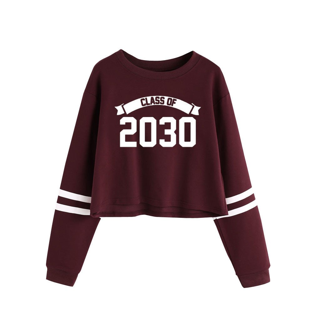 "Amazon.com: Pengy Women ""Class of 2030"" Letter Printed Round Neck Long Sleeve Pullover (S, Red): Home & Kitchen"