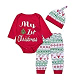 Toddler Baby Girls Newborn My 1st Christmas T-shirt Romper +Pants+ Hat 3pcs Clothes Set Outfits 3-6 Months