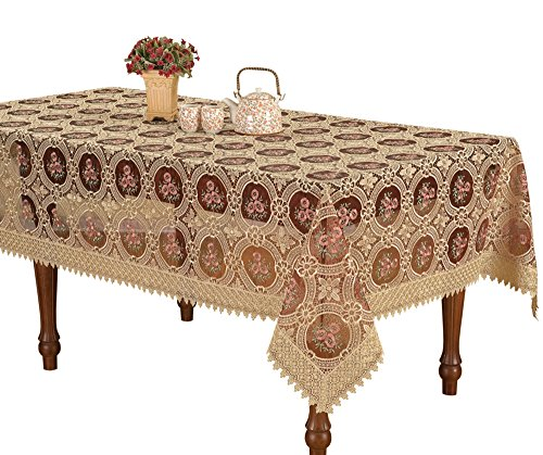 Simhomsen Vintage Burgundy Lace Tablecloth Embroidered Table Linen Rectangle 60 By 84 Inch