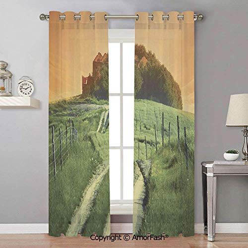 (Tuscan Decorative Semi Sheer Curtains Thermal Insulated Light Curtain Panels for Bedroom,42x90 Inch Peaceful Landscape of Pienza Tuscany Vineyard Trees Rural Ancient Farm House)