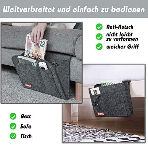 HAKACC Große Bett Organizer, Filz Betttasche Bettaufhänger Sofa Organizer für Buch, Zeitschriften, iPad, Handy, Computer