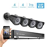 Amcrest UltraHD 3MP 4CH Video Security System - Four 2048TVL 3.0-Megapixel Weatherproof IP66 Bullet Cameras, 114ft IR LED Night Vision, Pre-Installed 1TB HDD Included, HD Over Analog/BNC, (Black)