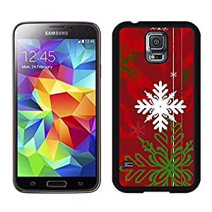 S5 Case,Christmas White Green Snowflake TPU Black Case For Galaxy S5,Samsung Galaxy S5 I9600 Protective