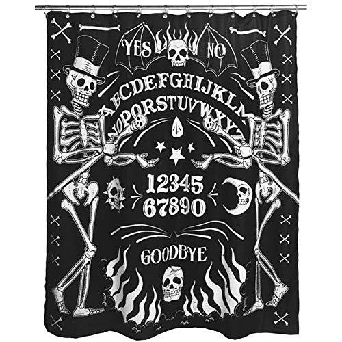 (Too Fast Apparel Skeleton Ouija Board Tattoo Shower Curtain Black/White)