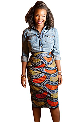 SheShy Trendy Thick African Fashion Print Bodycon Midi Autumn Winter Skirt (S, (Autumn Skirt)
