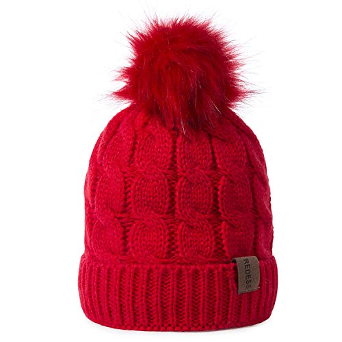 REDESS Kids Winter Warm Fleece Lined Hat, Baby Toddler Children's Beanie Pom Pom Knit Cap for Girls and Boys (RED) ()