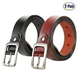 Set of 2 Women's Genuine Cowhide Leather Belt Vintage Casual Belts for Jeans Summer Dress for Women With Alloy Buckle By ANDY GRADE