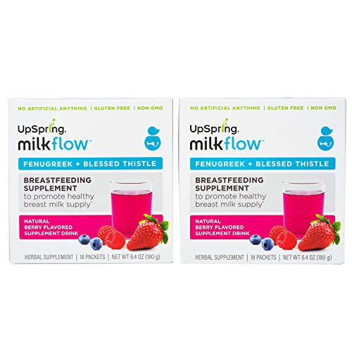 UpSpring Milkflow Fenugreek - Blessed Thistle Drinkable Supplement 2 Pack Berry