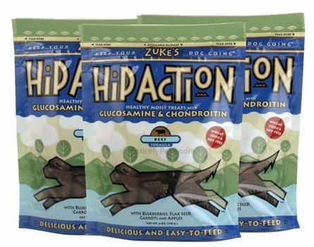 Zuke's Hip Action Dog Treats with Glucosamine and Chondroitin - Roasted Beef Recipe, 3-Pack, 6 Oz