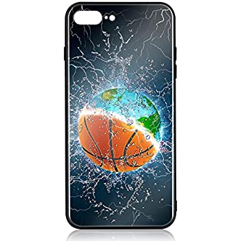iPhone 8 Plus Case iPhone 7 Plus Case HuntHawk with Anti-Drop TPU Hard PC Scratch-Proof Tempered Glass Protector Fit Apple 7 Plus Case for Girls Boys Earth and Basketball in Water