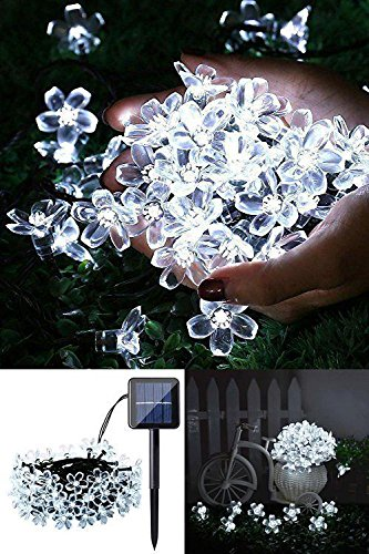 (Qedertek Solar Flower String Lights, Cherry Blossom 22ft 50 LED Waterproof Outdoor String Lights for Patio,Lawn,Garden,Holiday and Festivals Decorations (White))
