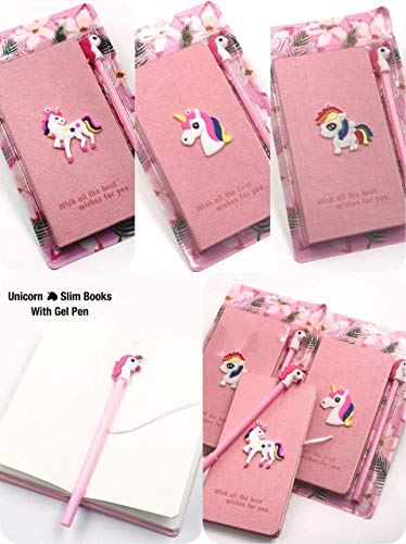 G4GIFT Unicorn Printed Slim Notebook Diary with Unicorn Gel Pen for Girls Birthday Party Return Gifts and for Other Multi-Purpose USES (Pink) (Pack of 1)