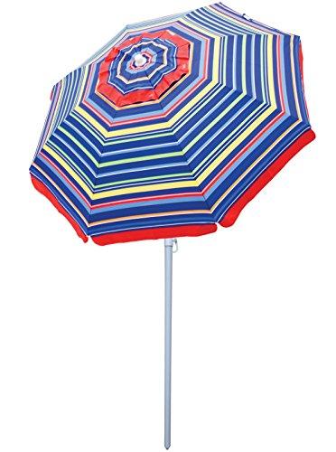 Rio Beach 6' Beach Umbrella with Sun Block, Bright Stripe