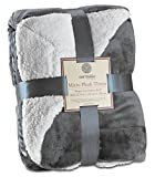 Genteele Sherpa Throw Blanket Super Soft Reversible Ultra Luxurious Plush Blanket (50' X 60', Gray)