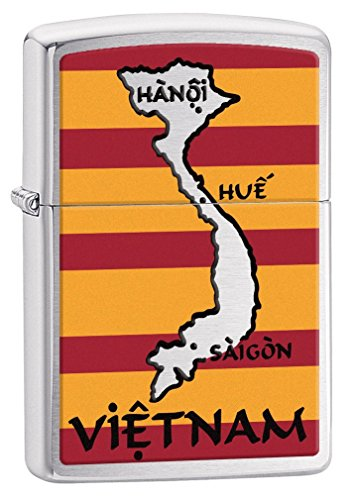 Zippo Lighter: Vietnam Map and Flag - Brushed Chrome 77295 - Chrome Map