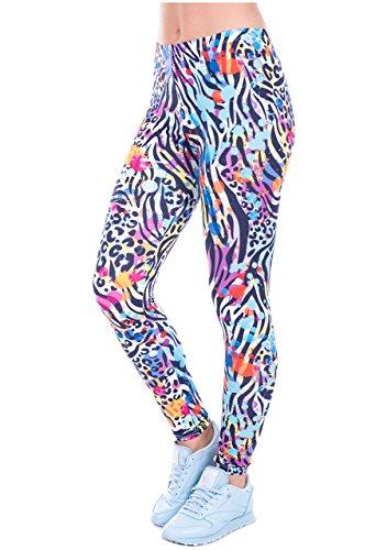 Ayliss Women Leggings Digital Print Yoga Skinny Pants High Waist Gym Elastic Tights,Colorful Leopard,XS-M