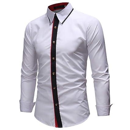 Blusa de Hombre, BaZhaHei, Camisas de Hombre de Manga Larga para Hombre Corte Slim Casual de Patchwork Casual de otoño Invierno de los Hombres 2018 Casual ...