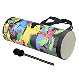 Yibuy 15x40cm Colorful Wooden Cylindrical Rainforest Waist Drum with Drumsticks Percussion Musical Toy for Children Early Education