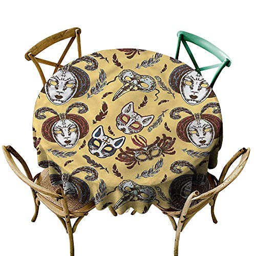 Luunins Black Round Tablecloth Masquerade,Venetian Mask Feathers D60,for Party ()