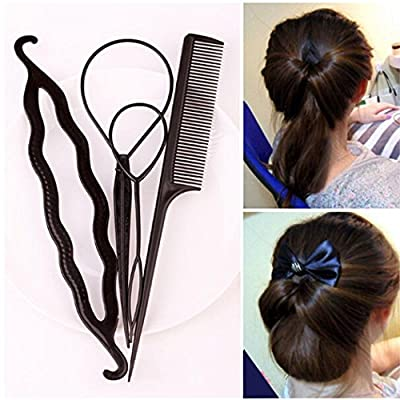 GuGio Plastic Magic Hair Styling Tools Hair Pull Dish Needle Hair Comb Tools Bump Up Clip Bun Maker Hairpin DIY Accessories Braid Ponytail Holder for Women Girls Lady