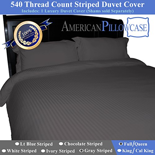 American Pillowcase 100% Egyptian Cotton Luxury Striped 540 Thread Count Duvet Cover with Wrinkle Guard - Full/Queen, Gray (Duvet Covers Pillowcase)