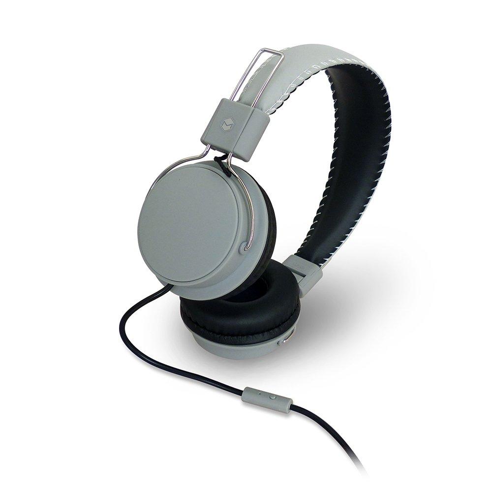 MQbix MQHT570GRY Earfoam Layers High Performance Headphones with Mic, Gray