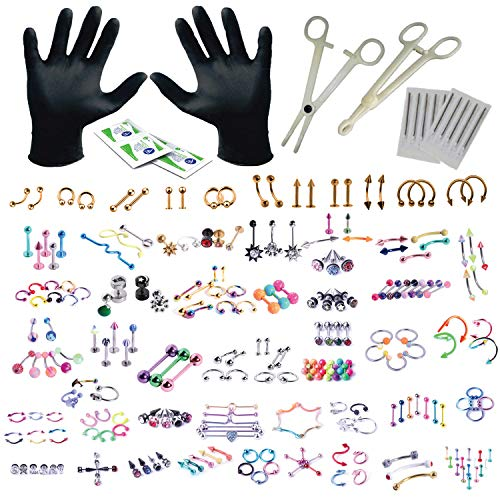 BodyJ4You 156PC Body Piercing Kit 14G 16G Rose Goldtone Belly Ring Tongue Tragus Random Mix Jewelry (Piercing Kit Monroe)