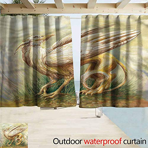 - MaryMunger Sliding Door Curtain Fantasy World Legendary Griffin Rod Pocket Energy Efficient Thermal Insulated W55x45L Inches