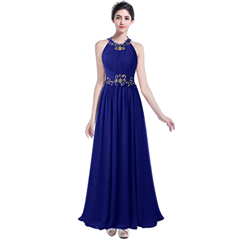 Ellames Beaded Long Chiffon Bridesmaid Dress Jewel Prom Evening Dress