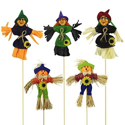 Iusun Halloween Scarecrow Ornaments Children Toys Rocker Witch Pumpkin Halloween Scene Dress Up Props Gift (Random)