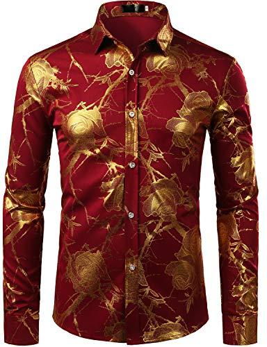 Floral Shirt Burgundy - ZEROYAA Men's 3D Gold Rose Design Slim Fit Long Sleeve Floral Print Dress Shirts/Prom Performing Shirts ZZCL15 Burgundy XX-Large