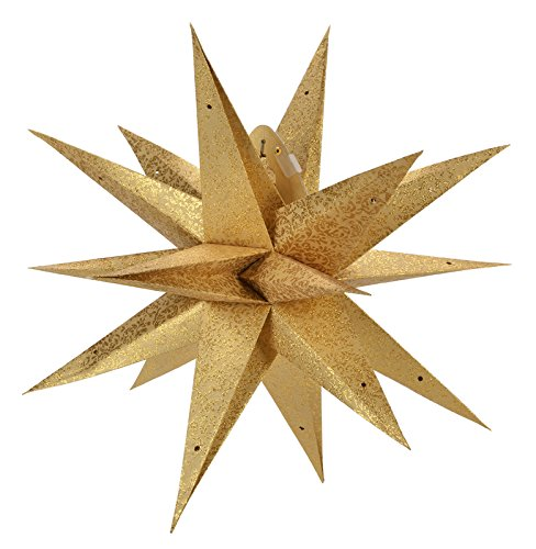 Quasimoon 24  Geometrical Gold Glitter Multi Point Paper Star Lantern  Hanging Decoration By Paperlanternstore