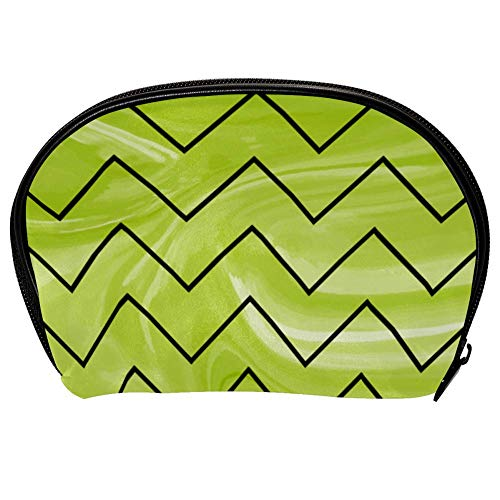 Universal Roomy Handbag Case Makeup Cosmetic Beauty Storage Bags,Facial Cleanser Skincare Kit Pouch Green Marble With Zig Zag Print,Portable Electronics Accessories Organizer ()