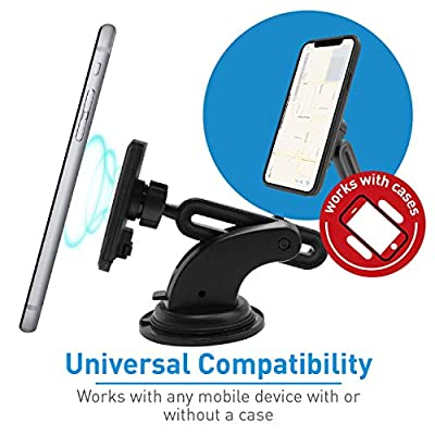 Magnetic Phone Car Mount, Macally Dashboard and Windshield Suction Cup Phone Holder with Extendable Arm for iPhone Xs Max XR X 8 7 7 Plus 6s Plus 6s 5s Samsung Galaxy S10 S10E S9 S8 S7 Edge S6 Note