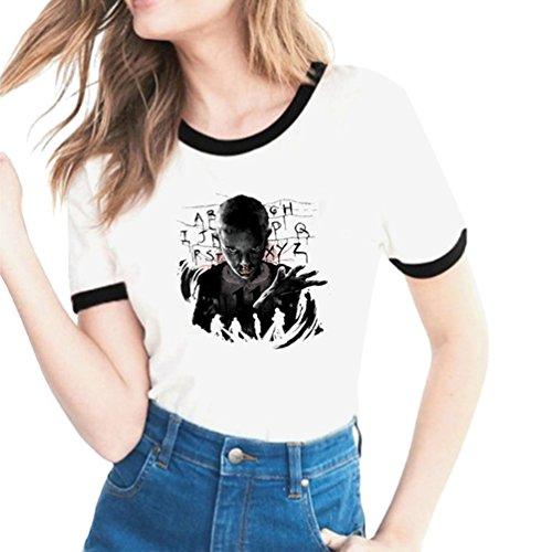 Grandi Proposito T Girocollo Donna Stile con Things Slim Stampa Corta 19 Lovers Traspirante Casual Stranger Magliette Confortevole Shirt Yuanu Tema Manica Dimensioni Stampa A di Xvq0Uww