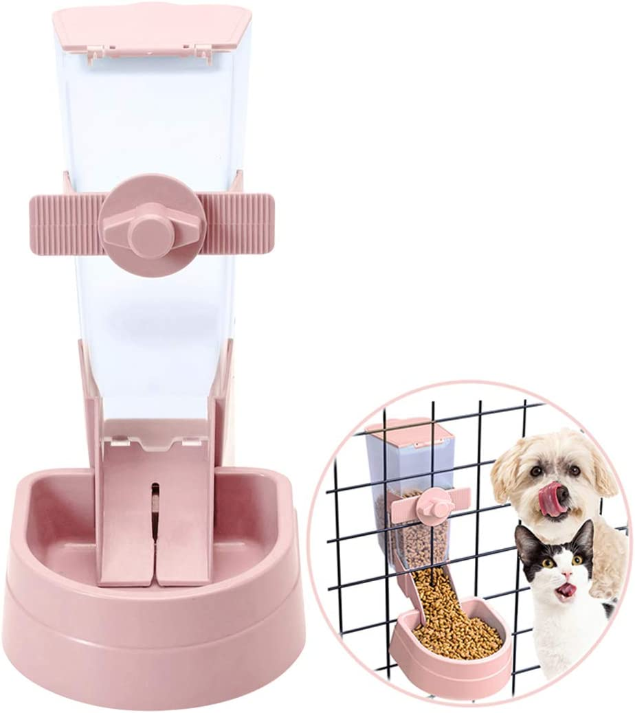 Pets Food Hanging Bowl for Crates & Cages Hanging Pet Cage Feeder for Small &Medium Animals Cats Dogs Automatic Feeder (Pink)