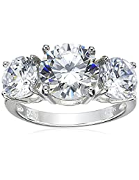 Sterling Silver Round Cut Three-Stone Cubic Zirconia Ring (5 cttw)