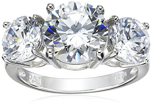 Platinum Plated Sterling Silver Round Cubic Zirconia Yesterday, Today, Tomorrow 3-Stone Ring, Size 6 (Three Stone Engagement Ring compare prices)